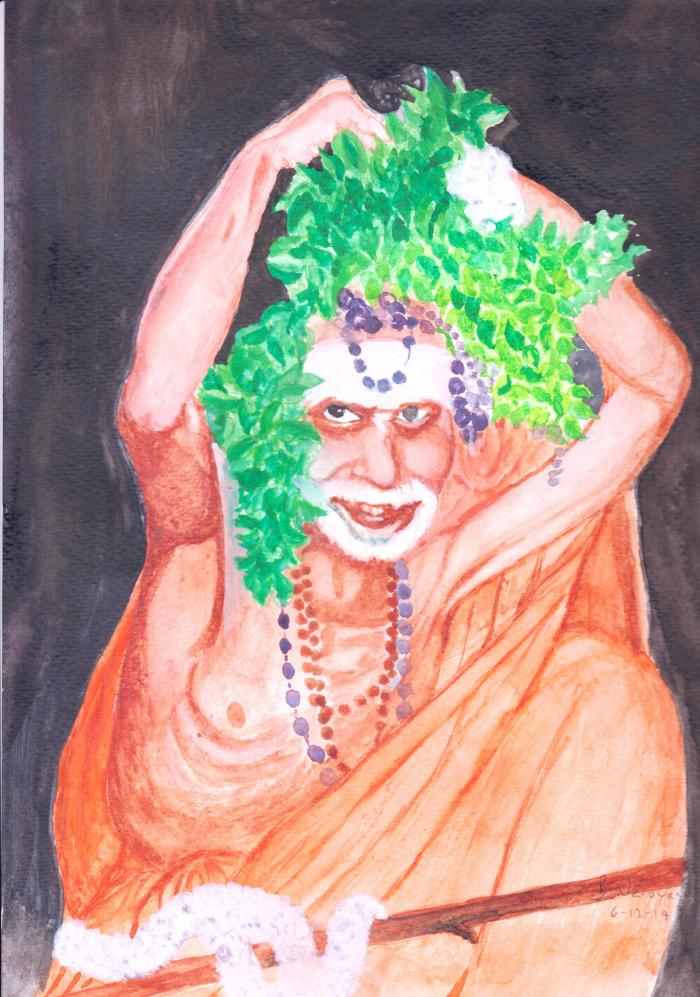 Periyava_adjusting_vilva_on_head_BN_painting