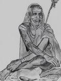 Periyava_sitting_smiling_sketch_Jayakumar