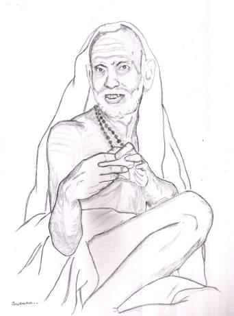 Periyava_hands_clamped_sketch_sudhan