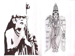 Periyava_praying_meenakshi_sudhan
