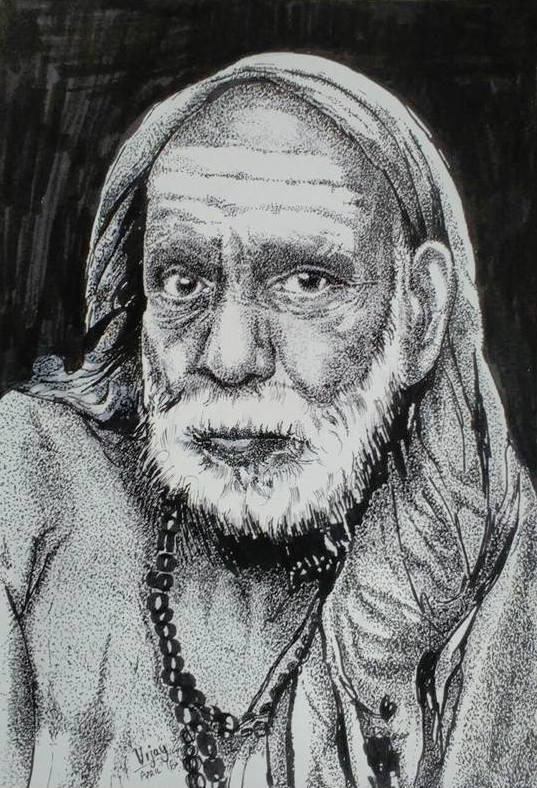 Periyava Black Pen Drawing Vijay