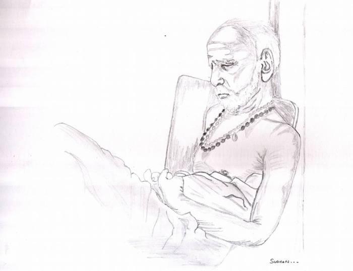Periyava Japam Sketch - Sudhan
