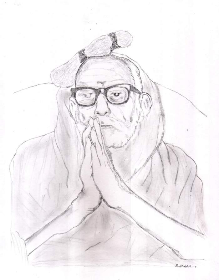 Periyava_Kunjithapadham_sketch_sudhan