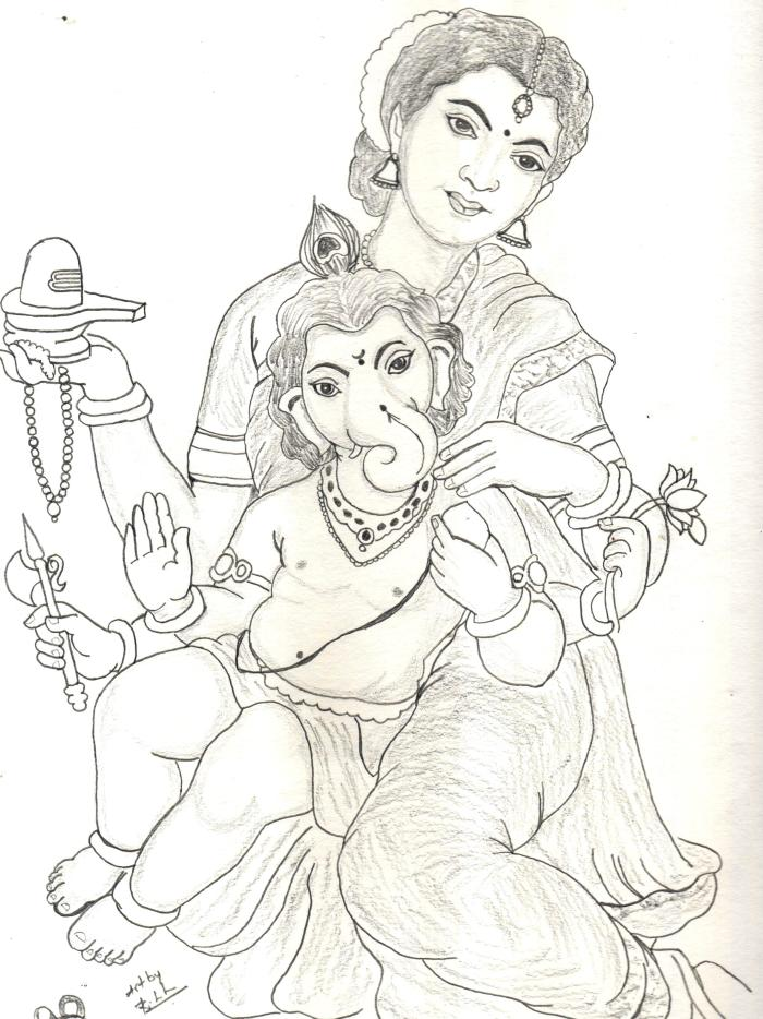ambal_with_vinayagar_drawing_sudhan