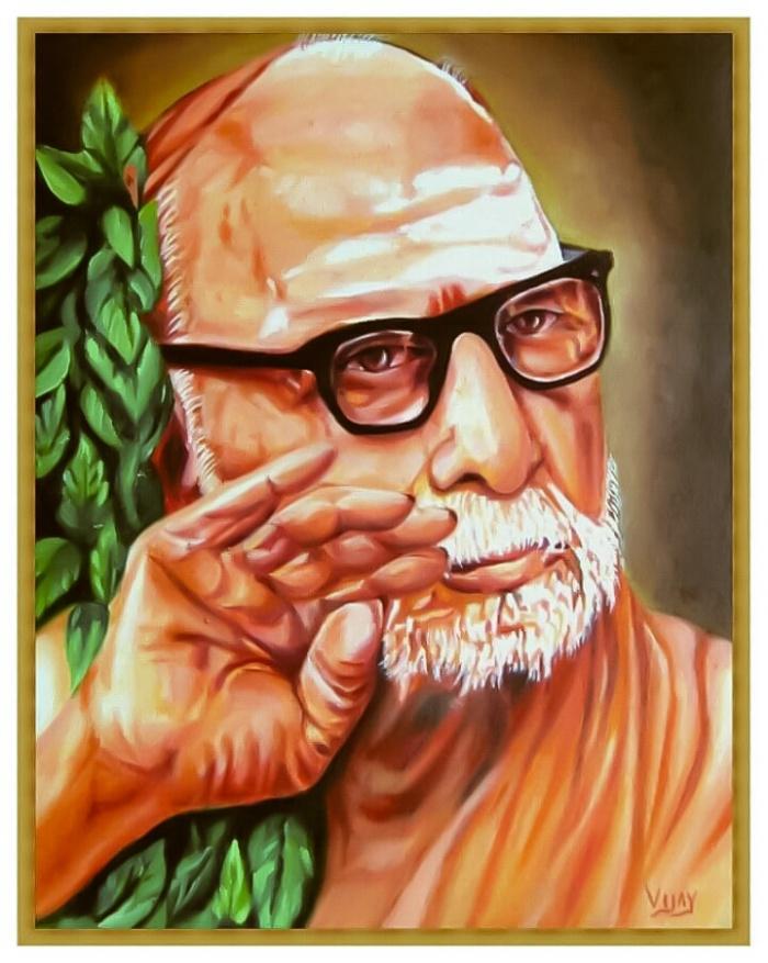 Anusham Pradosham Periyava Oil Painting