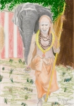 mahaperiava_elephant_drawing_bn_color