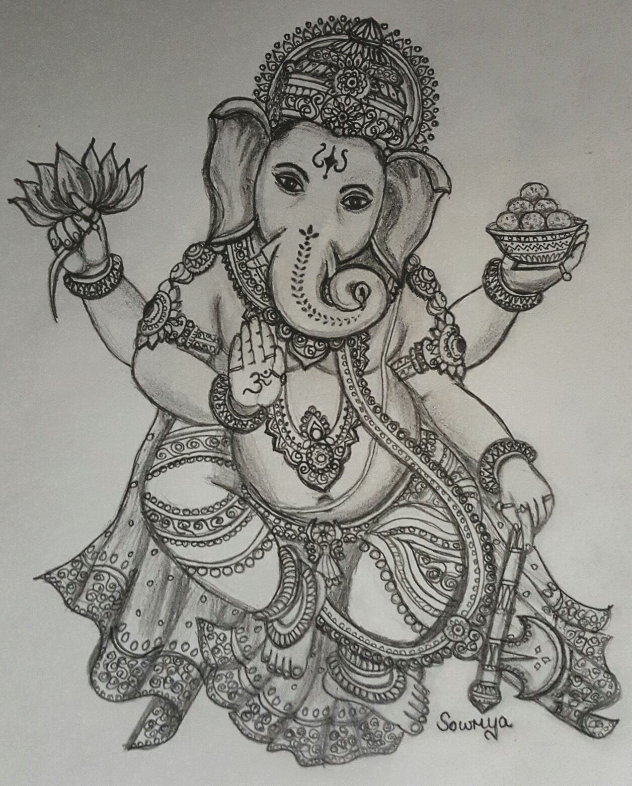 Vinayaka chaturthi special drawing by smt sowmya murali sage of