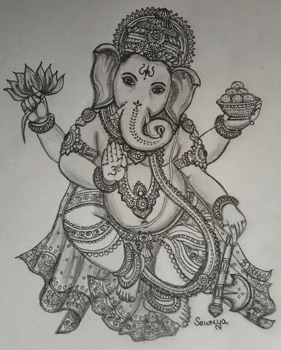Vinayaka chaturthi special drawing by smt sowmya murali sage of kanchi