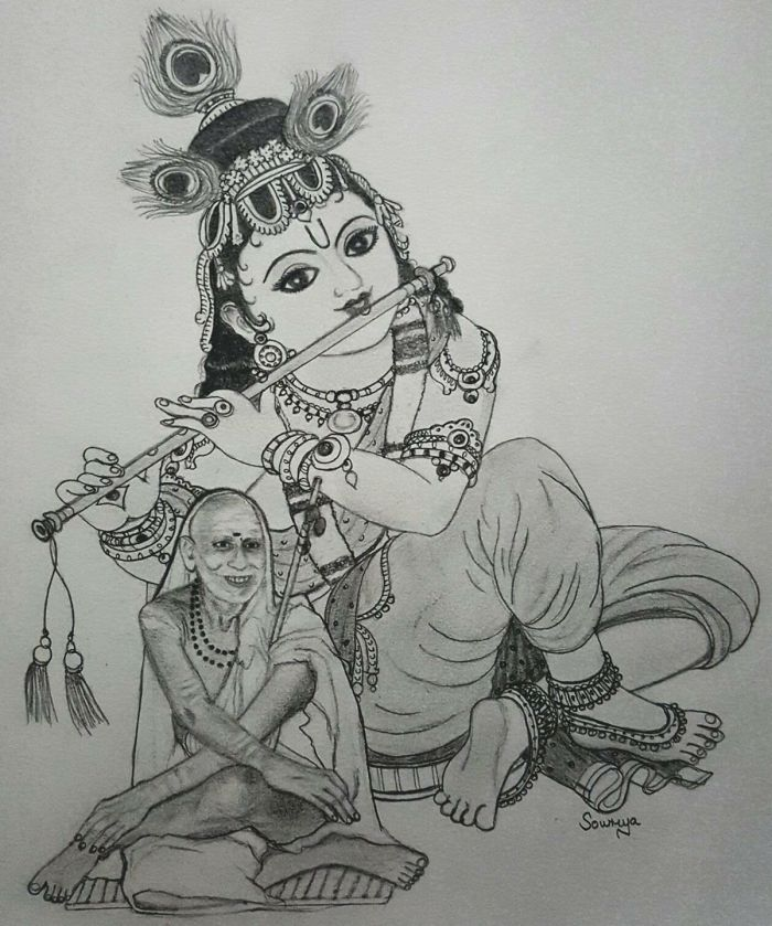 Krishna and Periyava drawing