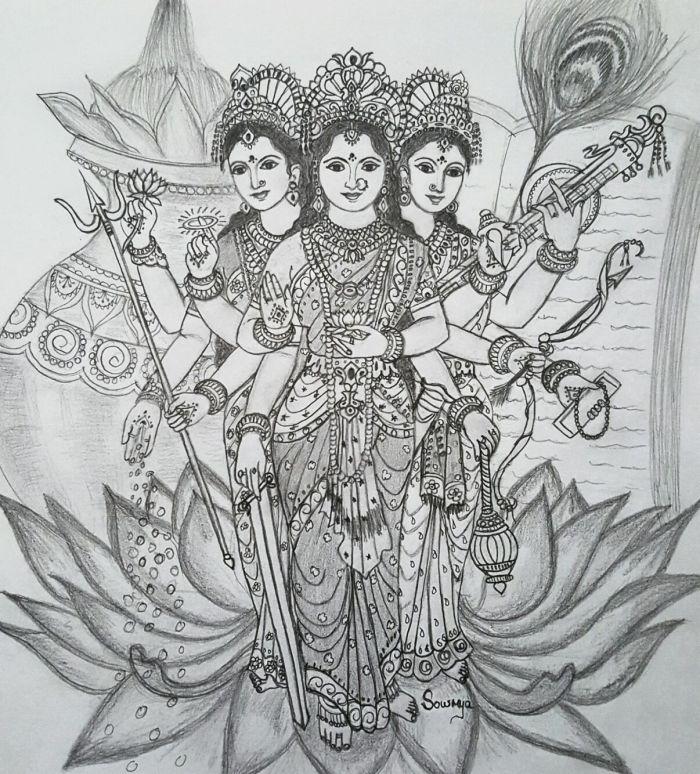 durga-lakshmi-saraswathi