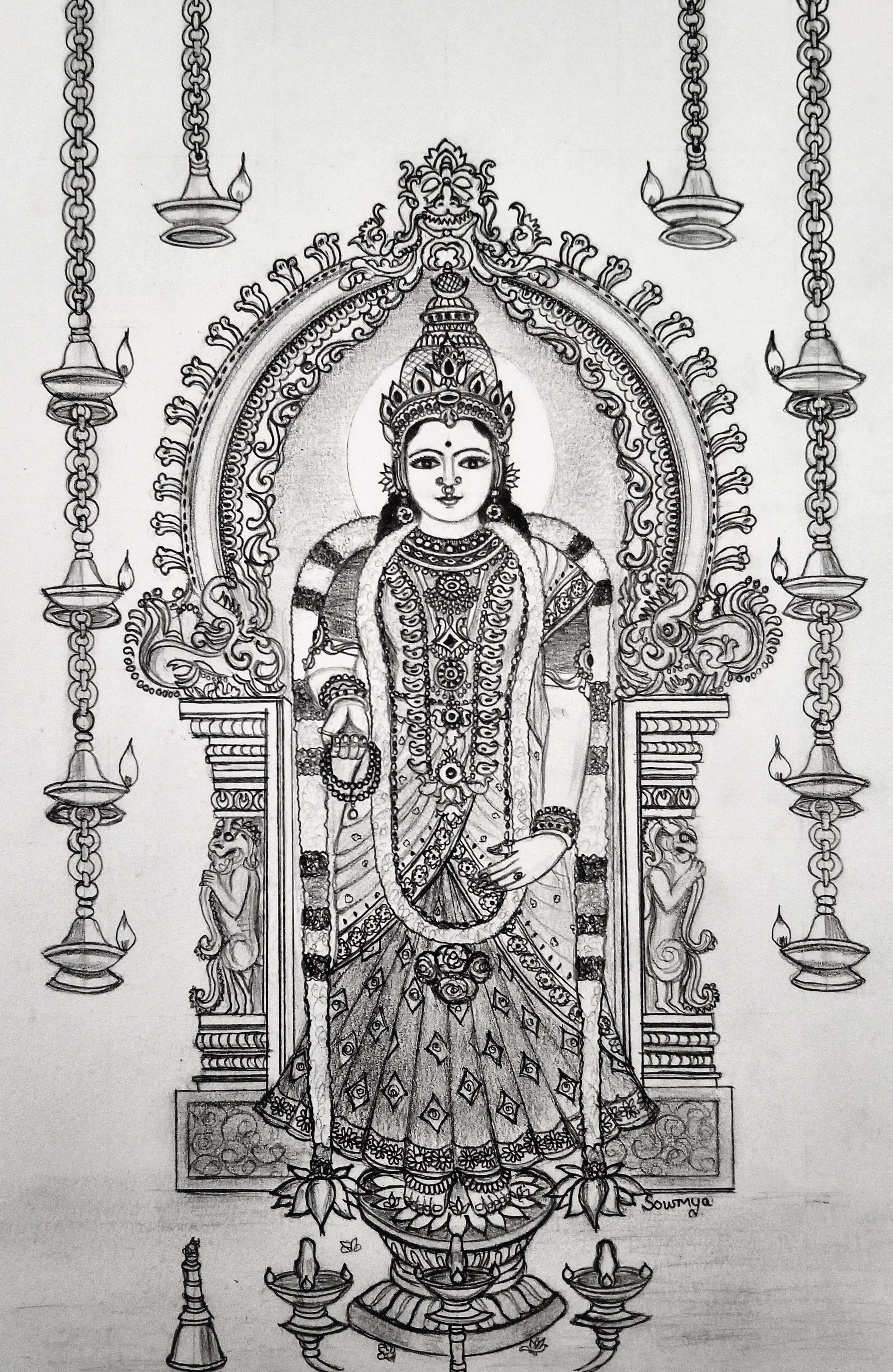 Navarathri Special Drawing Kanyakumari Bhagawathi Amman Sage Of Kanchi