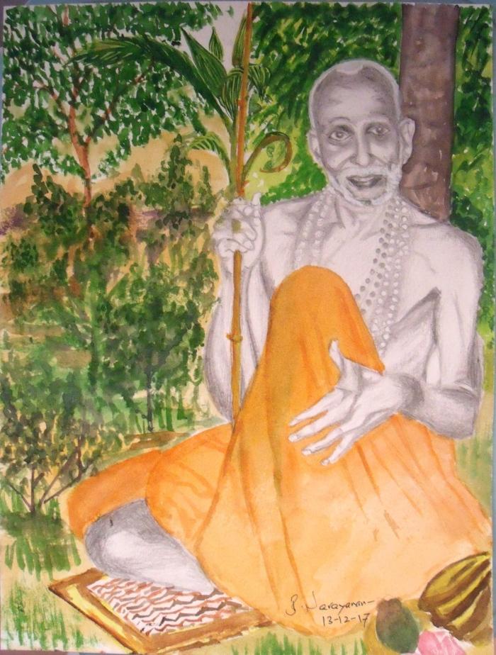 MahaPeriava-sitting-in-garden-BN.JPG