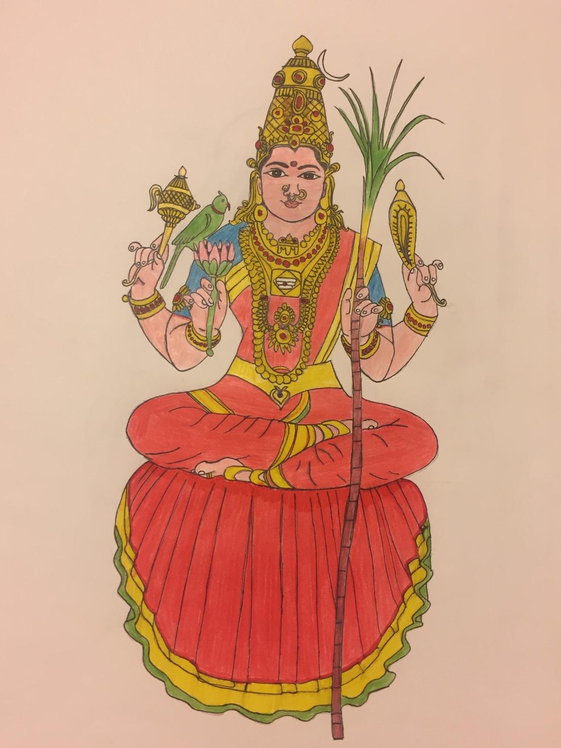 Maha Periyava Kamakshi Amman Drawings By Chi Aditya Sage Of Kanchi