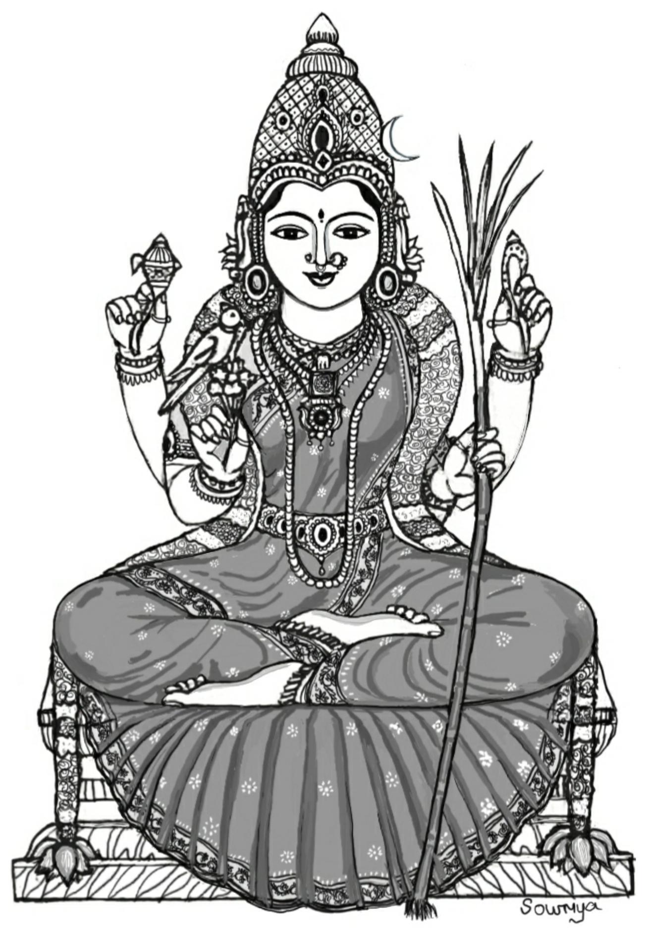 Glorious Kamakshi Amman Drawing By Sowmya Sage Of Kanchi